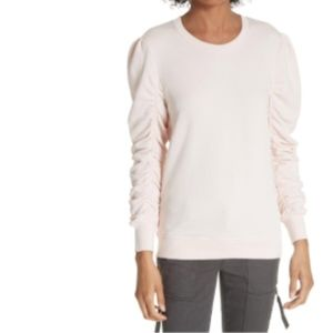 NWT Joie Hencia Ruched Sleeve Pima Cotton L Peony